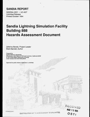 Primary view of object titled 'Sandia Lightning Simulation Facility Building 888. Hazards assessment document'.