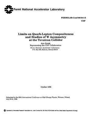 Primary view of object titled 'Limits on quark-lepton compositeness and studies of W asymmetry at the Tevatron collider'.