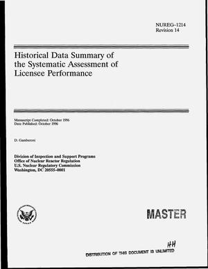 Primary view of object titled 'Historical data summary of the systematic assessment of licensee performance'.