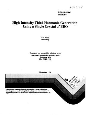 Primary view of object titled 'High intensity third harmonic generation using a single crystal of BBO'.