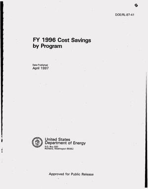 Primary view of object titled 'FY 1996 cost savings by program'.