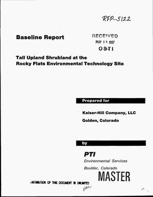 Primary view of object titled 'Baseline report - tall upland shrubland at the Rocky Flats Environmental Technology Site'.