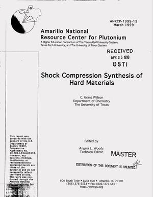 Primary view of object titled 'Shock compression synthesis of hard materials'.
