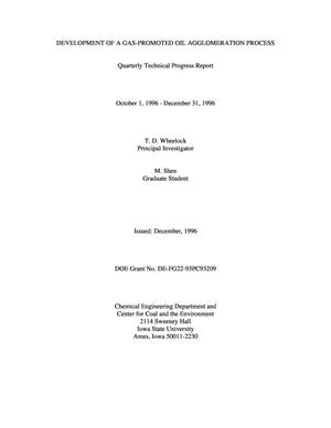 Primary view of object titled 'Development of a gas-promoted oil agglomeration process. Quarterly report, October 1, 1996--December 31, 1996'.