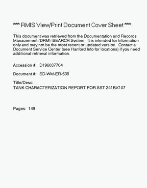 Primary view of object titled 'Tank characterization report for single-shell tank 241-BX-107'.