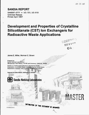 Primary view of object titled 'Development and properties of crystalline silicotitanate (CST) ion exchangers for radioactive waste applications'.