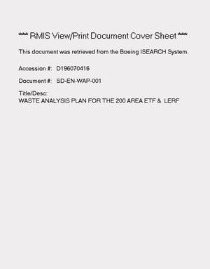 Primary view of object titled 'Waste analysis plan for the 200 area effluent treatment facility and liquid effluent retention facility'.
