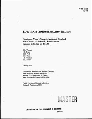 Primary view of object titled 'Tank Vapor Characterization Project: Headspace vapor characterization of Hanford Waste Tank 241-BX-105: Results from samples collected on 04/24/96'.