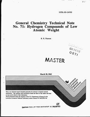Primary view of object titled 'General Chemistry Technical Note No. 71: Hydrogen compounds of low atomic weight'.