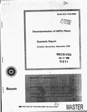 Primary view of object titled 'Decontamination of HEPA filters. Quarterly report, October, November, December 1976'.