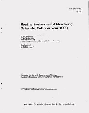 Primary view of object titled 'Routine environmental monitoring schedule, calendar year 1998'.