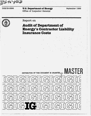 Primary view of object titled 'Audit of Department of Energy`s contractor liability insurance costs'.