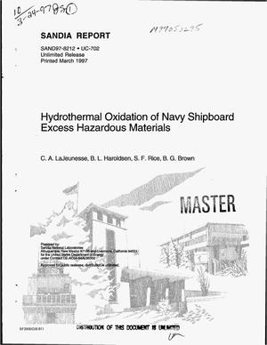 Primary view of object titled 'Hydrothermal oxidation of Navy shipboard excess hazardous materials'.