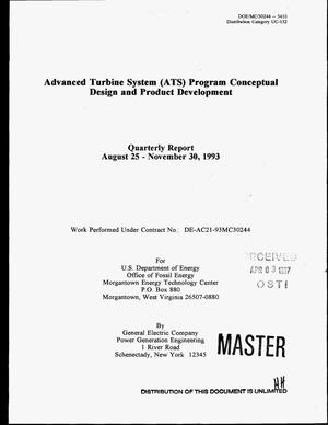 Primary view of object titled 'Advanced Turbine Systems (ATS) program conceptual design and product development. Quarterly report, August 25--November 30, 1993'.