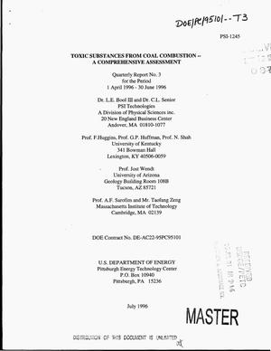 Primary view of object titled 'Toxic substances from coal combustion -- a comprehensive assessment. Quarterly technical progress report, 1 April 1996--30 June 1996'.