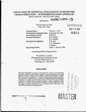 Primary view of object titled 'Application of artificial intelligence to reservoir characterization: An interdisciplinary approach. Quarterly progress report, April 1 1996--June 30, 1996'.