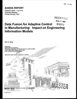 Primary view of object titled 'Data fusion for adaptive control in manufacturing: Impact on engineering information models'.
