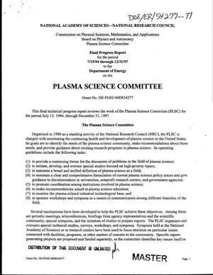 Primary view of object titled 'Plasma Science Committee final progress report, July 15, 1994--December 31, 1997'.