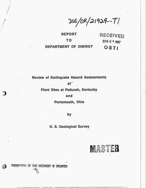 Primary view of object titled 'Review of earthquake hazard assessments of plant sites at Paducah, Kentucky and Portsmouth, Ohio'.