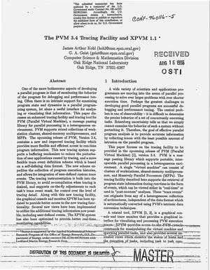 Primary view of object titled 'The PVM 3.4 tracing facility and XPVM 1.1'.