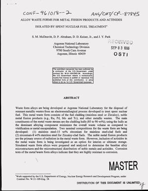 Primary view of object titled 'Alloy waste forms for metal fission products and actinides isolated by spent nuclear fuel treatment'.