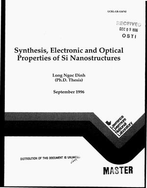Primary view of object titled 'Synthesis, electronic and optical properties of Si nanostructures'.