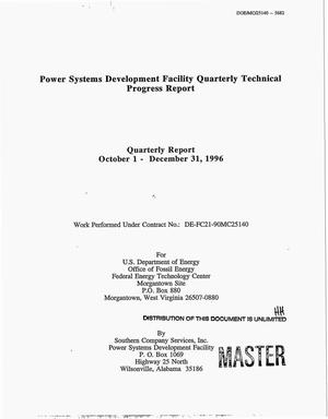 Primary view of object titled 'Power systems development facility. Quarterly report, October 1--December 31, 1996'.