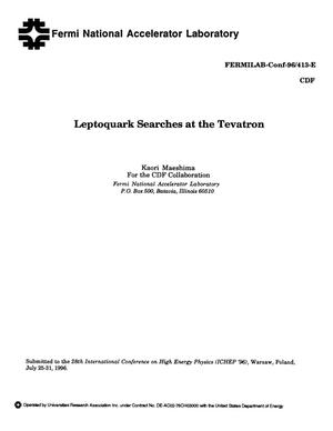 Primary view of object titled 'Leptoquark searches at the Tevatron'.