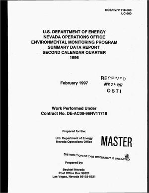 Primary view of object titled 'U.S. Department of Energy Nevada Operations Office Environmental Monitoring Program summary data report, second calendar quarter 1996'.