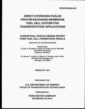 Primary view of object titled 'Direct-hydrogen-fueled proton-exchange-membrane fuel cell system for transportation applications: Conceptual vehicle design report pure fuel cell powertrain vehicle'.