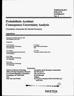 Primary view of object titled 'Probabilistic accident consequence uncertainty analysis -- Uncertainty assessment for internal dosimetry. Volume 2: Appendices'.