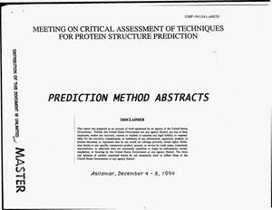 Primary view of object titled 'Prediction method abstracts'.