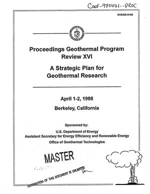 Primary view of object titled 'Geothermal program review 16: Proceedings. A strategic plan for geothermal research'.