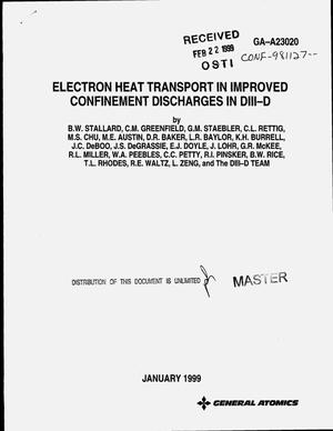 Primary view of object titled 'Electron heat transport in improved confinement discharges in DIII-D'.
