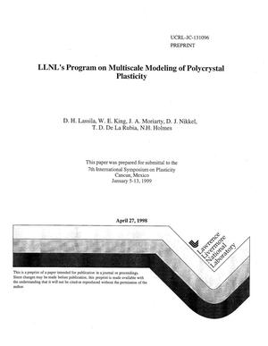 Primary view of object titled 'LLNL's program on multiscale modeling of polycrystal plasticity'.