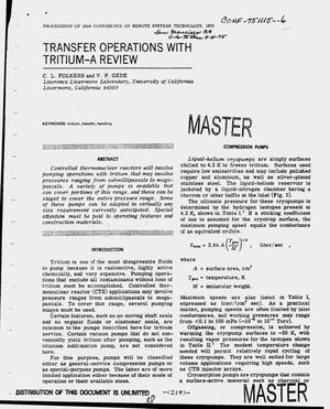 Primary view of object titled 'Transfer operations with tritium -- A review'.