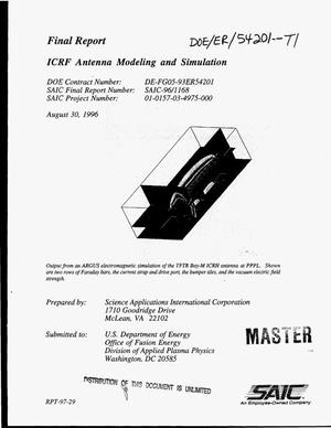 Primary view of object titled 'ICRF antenna modeling and simulation. Final report, March 1, 1993--May 31, 1996'.