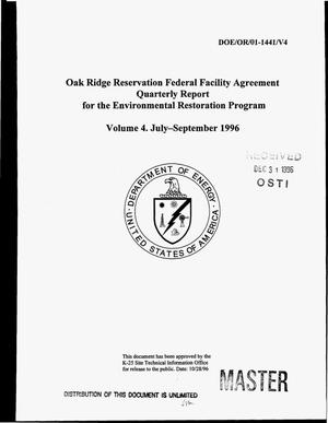 Primary view of object titled 'Oak Ridge Reservation Federal Facility Agreement. Quarterly report for the Environmental Restoration Program. Volume 4: July--September 1996'.