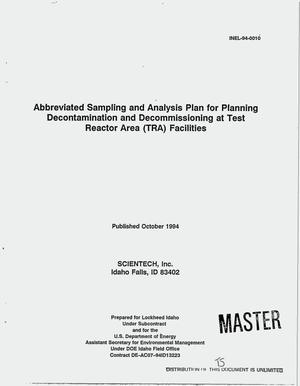 Primary view of object titled 'Abbreviated sampling and analysis plan for planning decontamination and decommissioning at Test Reactor Area (TRA) facilities'.