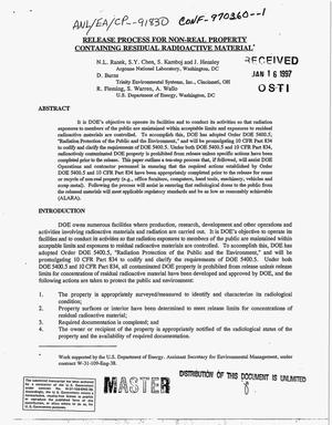 Primary view of object titled 'Release process for non-real property containing residual radioactive material'.