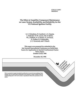 Primary view of object titled 'Effect of amplifier component maintenance on laser system availability and reliability for the US National Ignition Facility'.