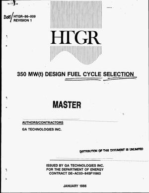 Primary view of object titled '350 MW(t) design fuel cycle selection. Revision 1'.
