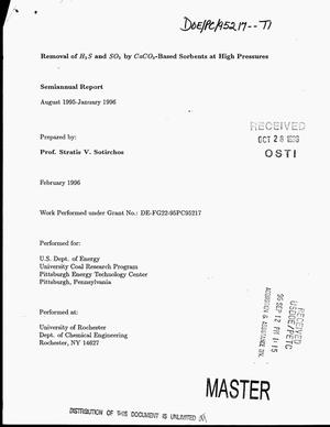 Primary view of object titled 'Removal of H{sub 2}S and SO{sub 2} by CaCO{sub 3}-based sorbents at high pressures. Semiannual report, August 1995--January 1996'.