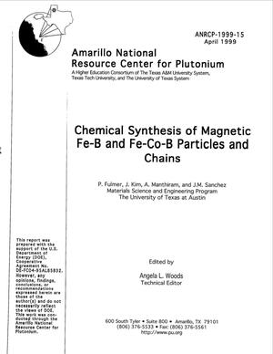 Primary view of object titled 'Chemical synthesis of magnetic Fe-B and Fe-Co-B particles and chains'.