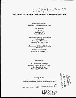 Primary view of object titled 'Role of char during reburning of nitrogen oxides. Ninth quarterly report, October 1, 1995--December 31, 1995'.
