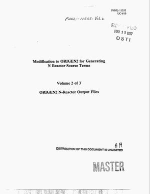 Primary view of object titled 'Modification to ORIGEN2 for generating N Reactor source terms. Volume 2: ORIGEN2 N-Reactor output files'.