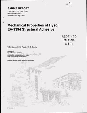 Primary view of object titled 'Mechanical properties of Hysol EA-9394 structural adhesive'.