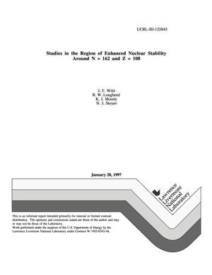 Primary view of object titled 'Studies in the region of enhanced nuclear stability around N = 162 and Z = 108'.