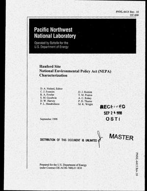 Primary view of object titled 'Hanford Site National Environmental Policy Act (NEPA) characterization. Revision 10'.