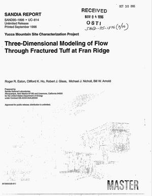 Primary view of object titled 'Three-dimensional modeling of flow through fractured tuff at Fran Ridge'.